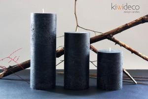 Handmade Black Magic Rustic Pillar Large Candles