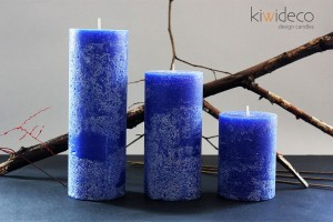 Blue Rustic Pillar Large Candles Set