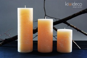 Cream Rustic Pillar Large Candles Set