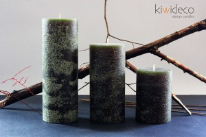 Olive Green Rustic Pillar Large Candles Set