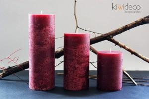 Dark Red Rustic Pillar Large Candles Set