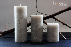 Silver Gray Rustic Pillar Large Candles Set