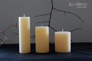 Handmade Beige Rustic Pillar Candles