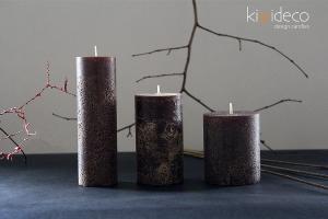Handmade Rustic Pillar Candles Set (Coffee)