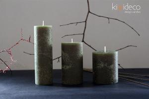 Handmade Olive Green Rustic Pillar Candles
