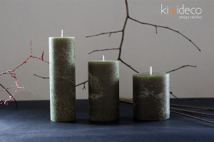 Handmade Rustic Pillar Candles Set (Olive Green)