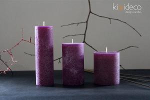 Handmade Purple Rustic Pillar Candles
