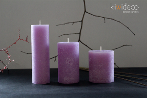 Handmade Rustic Pillar Candles Set (Lilac Provence)