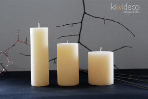 Handmade Rustic Pillar Candles Set (Champagne)