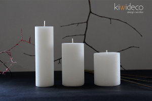 Handmade Snow White Rustic Pillar Candles