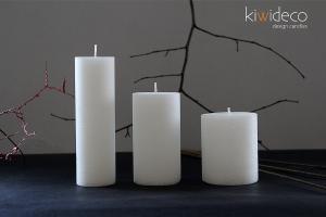 Handmade Rustic Pillar Candles Set (Snow White)