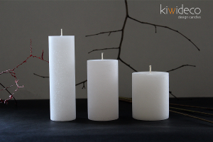 Handmade Rustic Pillar Candles Set (White Ice)