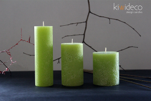 Handmade Green Summer Rustic Pillar Candles