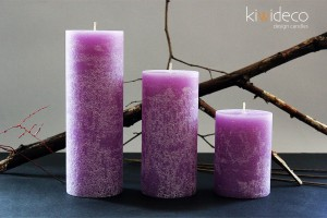 Handmade Rustic Pillar Large Candles Set (Lilac Provence)