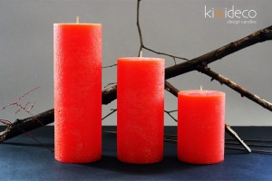 Orange Rustic Pillar Large Candles Set