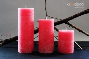 Handmade Rustic Pillar Large Candles Set (Rose)