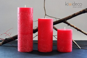 Red Rustic Pillar Large Candles Set