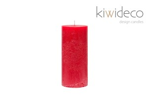 Candle Red Pillar Rustic Unscented
