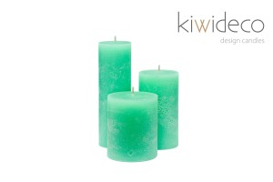 Handmade Rustic Pillar Candles Set (Mint)