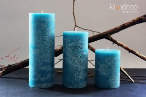 Turkoise Rustic Pillar Large Candles Set