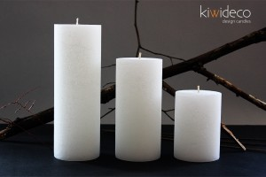 Handmade Rustic Pillar Large Candles Set (White Ice)