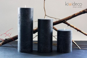 Black Rustic Pillar Large Candles Set