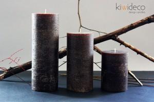 Handmade Rustic Pillar Large Candles Set (Coffee)