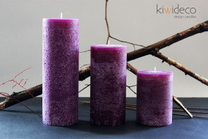 Handmade Purple Rustic Pillar Large Candles
