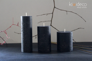 Handmade Rustic Pillar Candles Set (Black Magic)