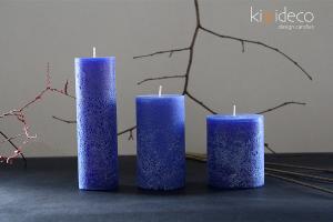 Handmade Blue Rustic Pillar Candles