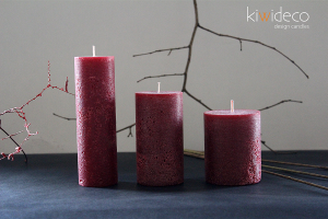 Handmade Dark Red Rustic Pillar Candles