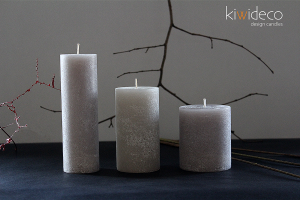 Handmade Rustic Pillar Candles Set (Silver Grey)