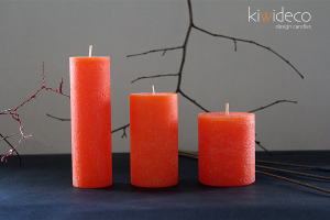 Handmade Orange Rustic Pillar Candles