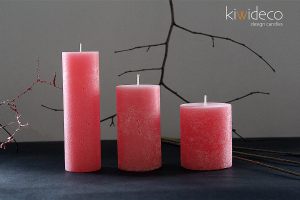 Handmade Rustic Pillar Candles Set (Rose)