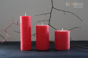 Handmade Rustic Pillar Candles Set (Red)