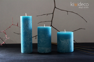 Handmade Rustic Pillar Candles Set (Turquoise)