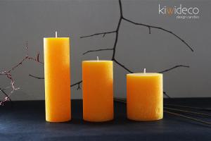 Handmade Rustic Pillar Candles Set (Gold Yellow)