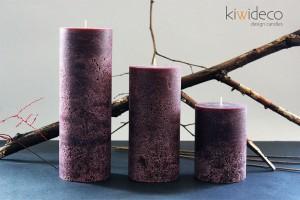 Purple Rustic Pillar Large Candles Set