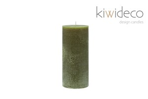 Candle Olive Green Pillar Rustic
