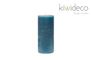 Turquoise Rustic Pillar Handmade Unscented Candle 65 x 150 mm 2.55 x 5.90 Inches