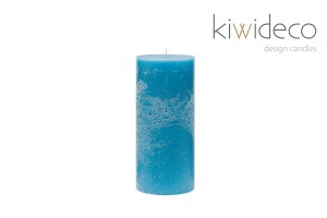 Turquoise Pillar Rustic Unscented Handmade Candle 65 x 150 mm 2.55 x 5.90 Inches