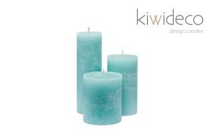 Handmade Rustic Pillar Candles Set (Mist)