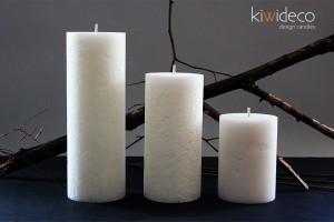 Handmade Rustic Pillar Large Candles Set (Snow White)