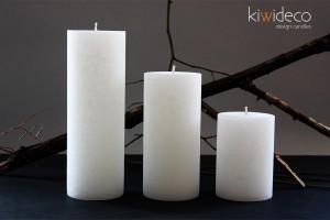 Handmade Rustic Pillar Large Candles Set (White Ice)