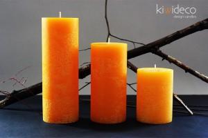 Yellow Gold Rustic Pillar Large Candles Set