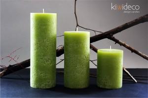 Handmade Green Summer Rustic Pillar Large Candles